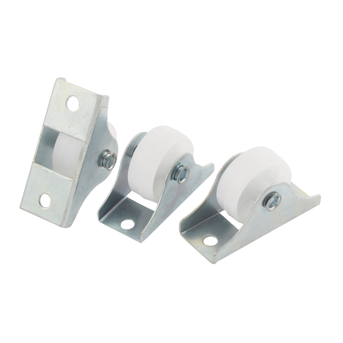 "3Pcs 0.9"" Diameter White Plastic Wheel Rectangle Mount Plate Swivel Caster"
