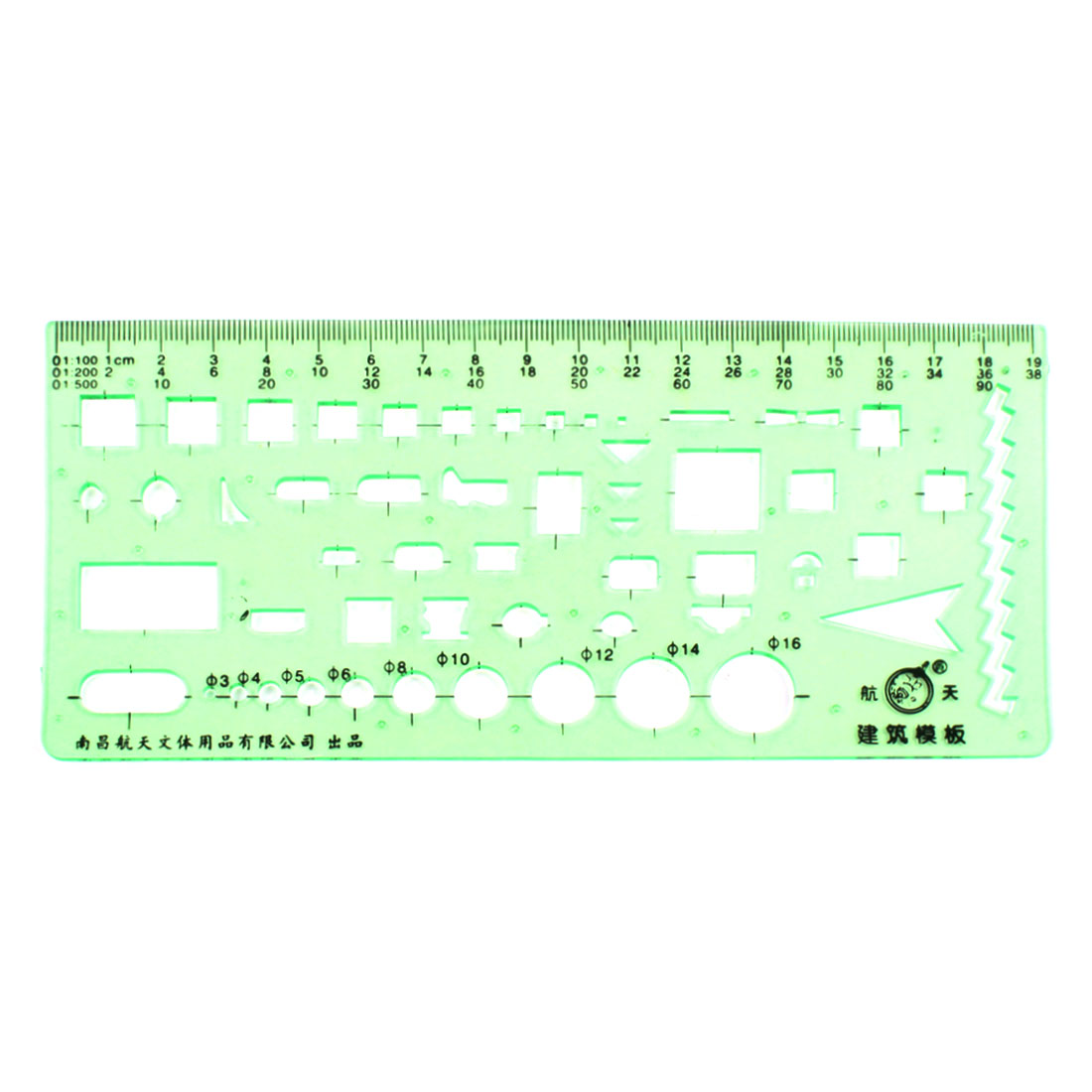 Stationery Scale Drafting Drawing Structure Construction Template Ruler Green
