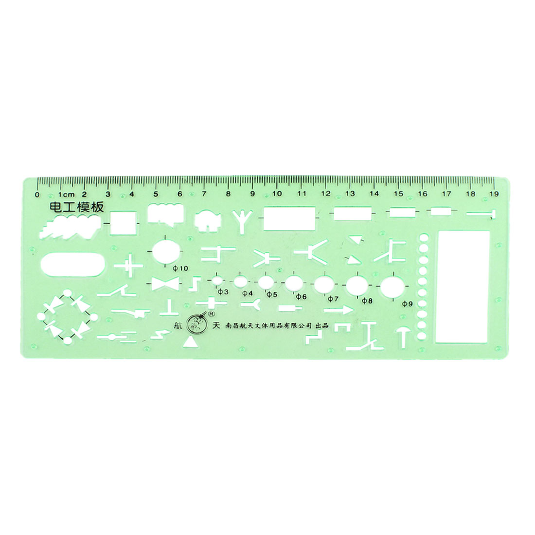 Green Plastic Stationery Computer Diagrammer Electrican Template Ruler 0-19cm Measurement