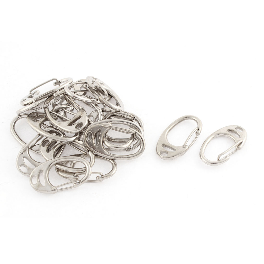 20 Pcs Silver Tone Spring Loaded Lobster Clasps Buckles Hook Clips