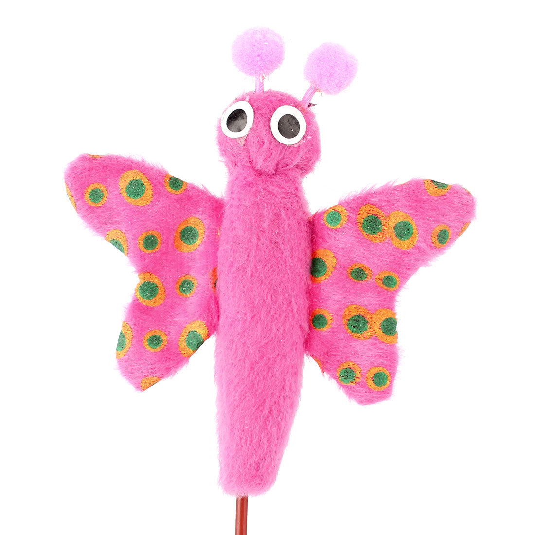 Pet Cat Dog Puppy Butterfly Shaped Roped Catching Playing Rod Toy Pink