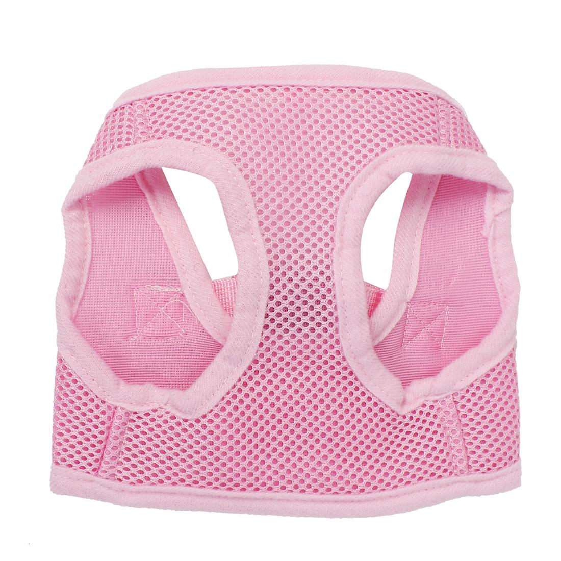 Pet Puppy Dog Adjustable Side Release Buckle Mesh Harness Vest Pink Size XS