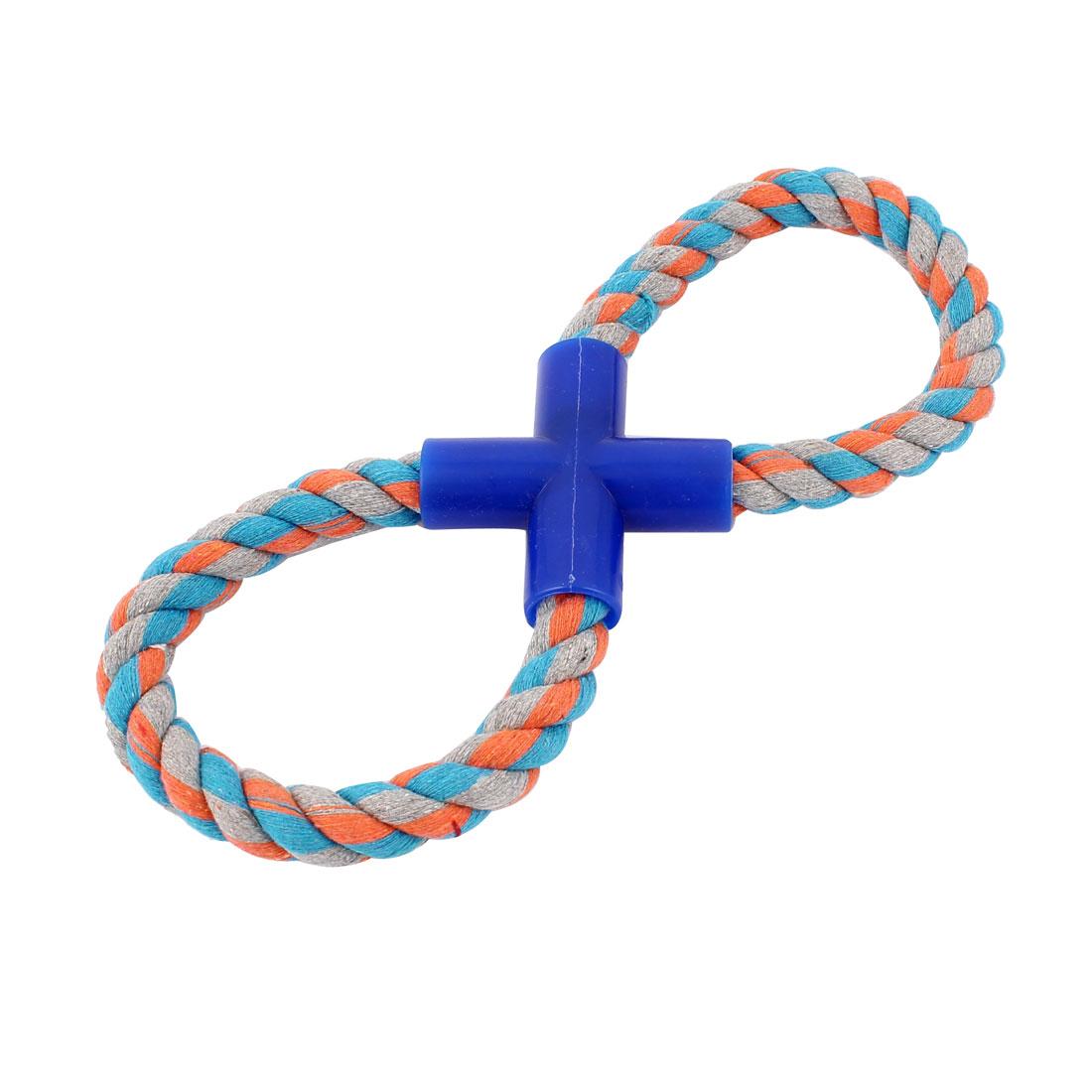 Blue Orange Gray Pet Dog Figure 8 Shape Rope Training Tug Chew Toy