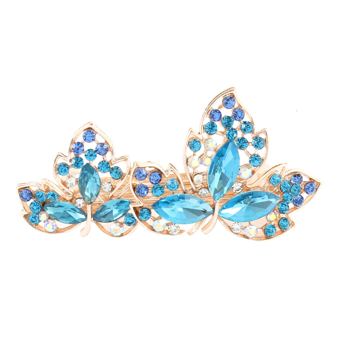 Rhinestone Bling Lady Floral French Hair Clip Hairpin Barrette Blue