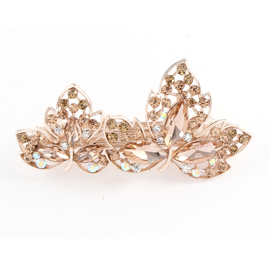 Lady Rhinestone Decor Floral French Hairclip Hair Barrette Pin