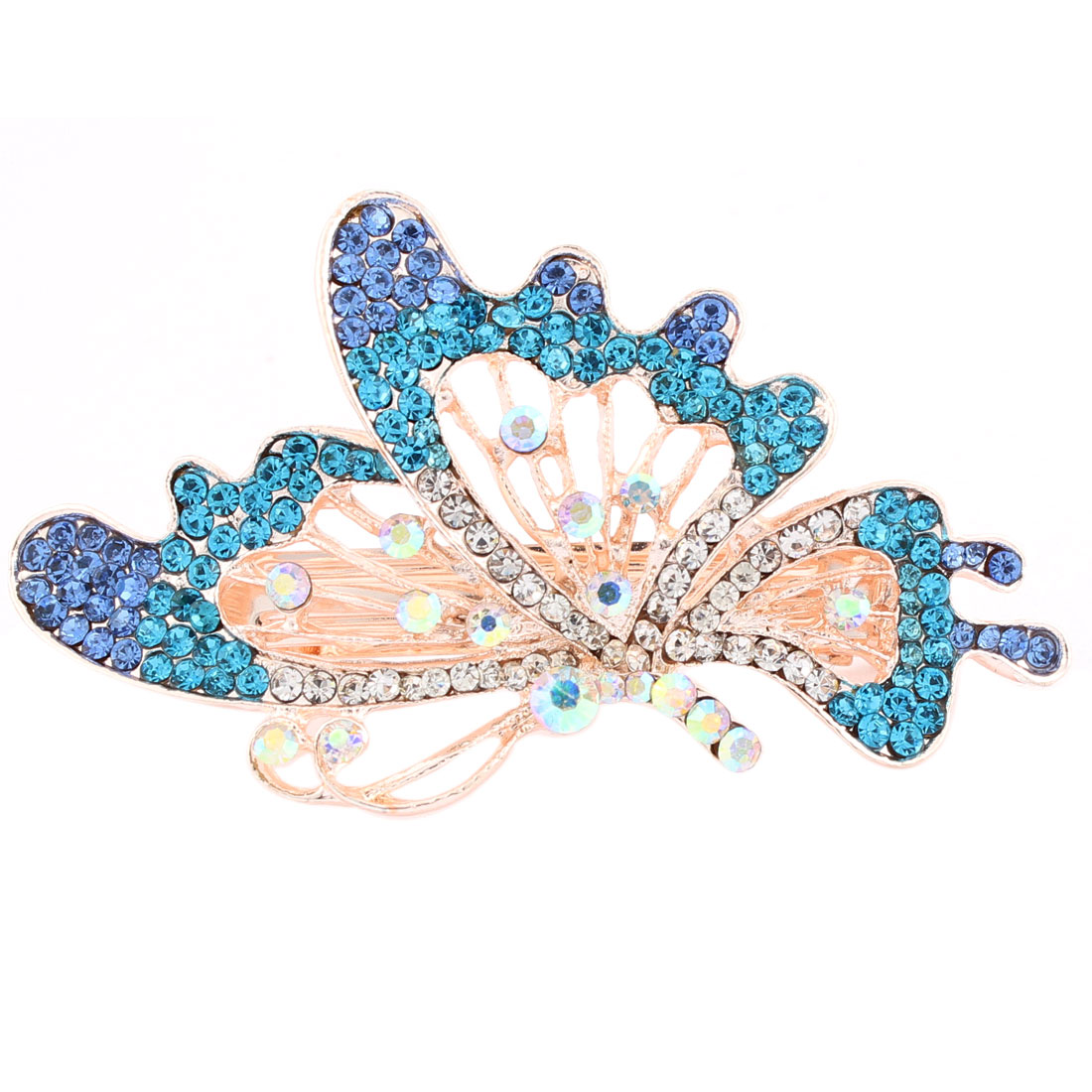 Lady Gold Plated Rhinestone Decor French Clip Hairclip Barrette Colorful