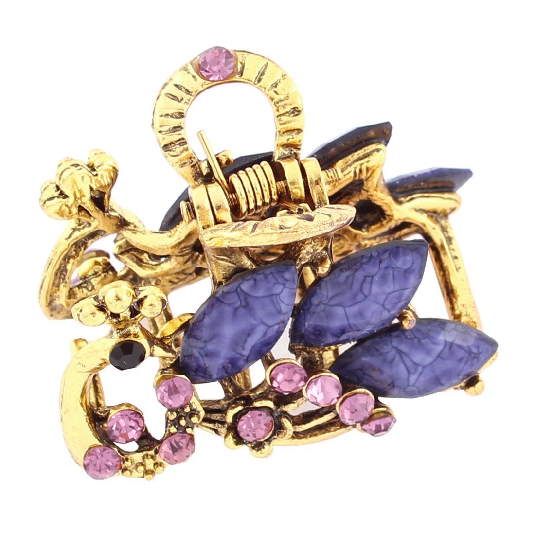 Rhinestone Glittering Lady Hair Jaw Clip Claw Hairclip Hairpin Purple