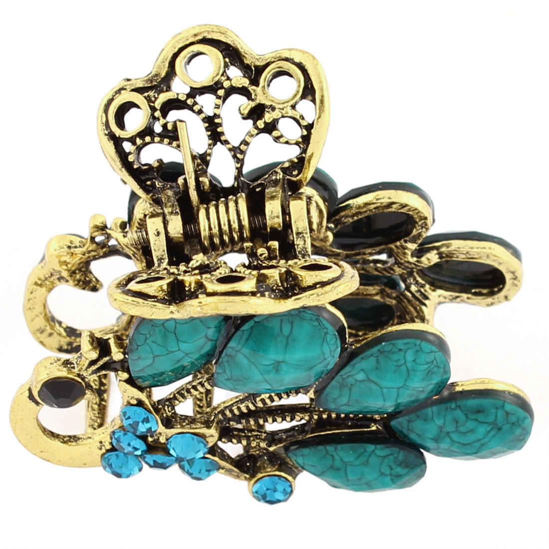 Rhinestone Lady Peacock Style Hair Claw Jaw Clip Hairpin Blue