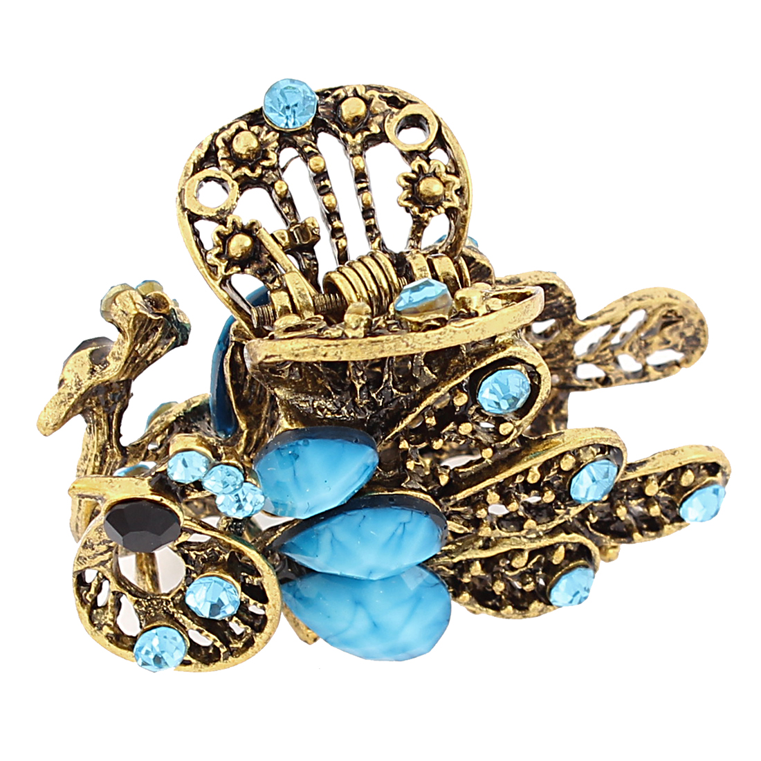 Rhinestone Bling Peacock Design Hair Claw Jaw Clip Hairclip Barrette