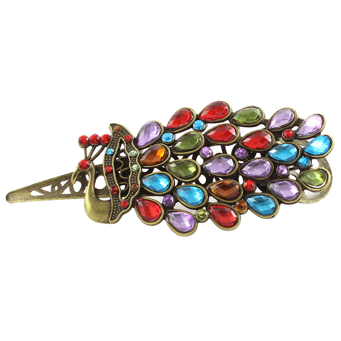 Rhinestone Peacock Shape Women Hair Barrette Hairpin Clip Colorful