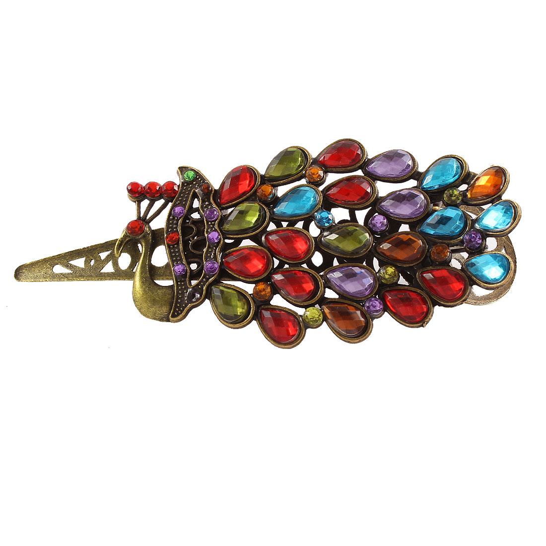Women Metal Peacock Shape Headwear Barrette Beak Hair Clip Hairpin Colorful
