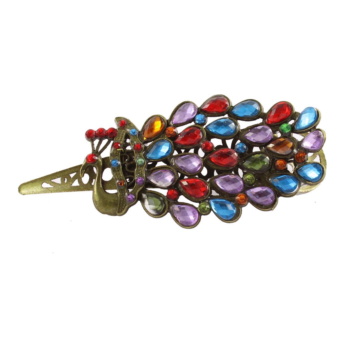 Rhinestone Decor Women Bling Hair Pin Haircilp Barrette Claw Colorful
