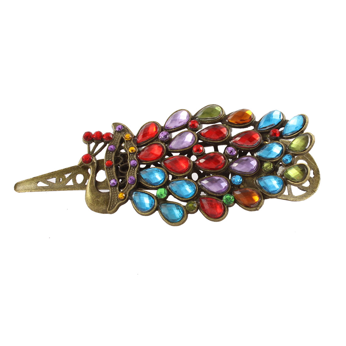Vintage Style Peacock Rhinestone Hair Barrette Hairclip Hairpin