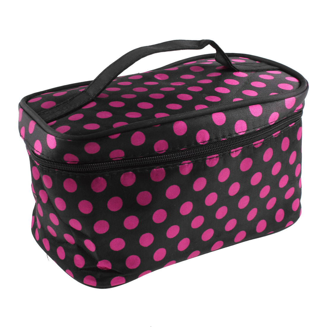 Lady Zipper Closure Dots Pattern Cosmetic Bag Makeup Case Holder