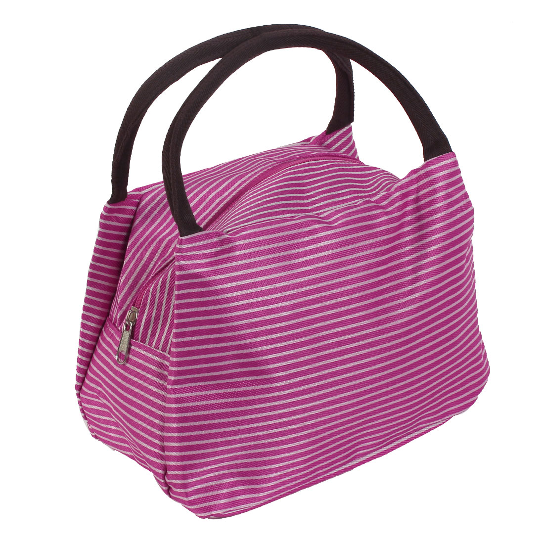 Stripe Pattern Women Toiletry Makeup Pouch Holder Handbag Cosmetic Bags Fuchsia
