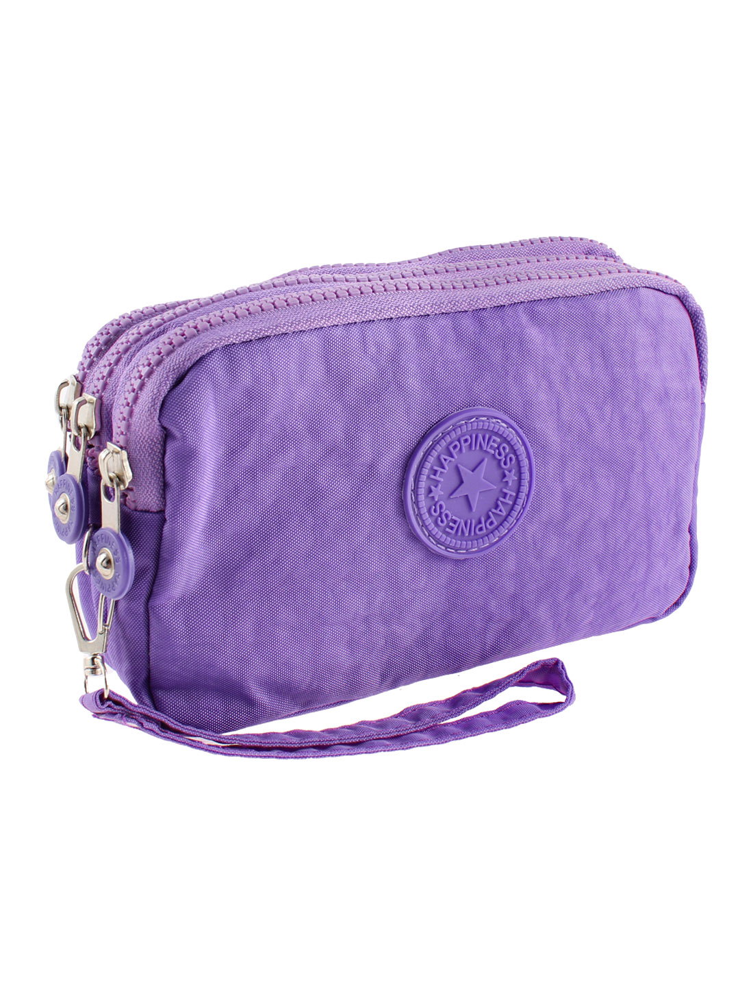 Lady Zipper Closure Purse Cash Coin Cards Bag Handbag Purple