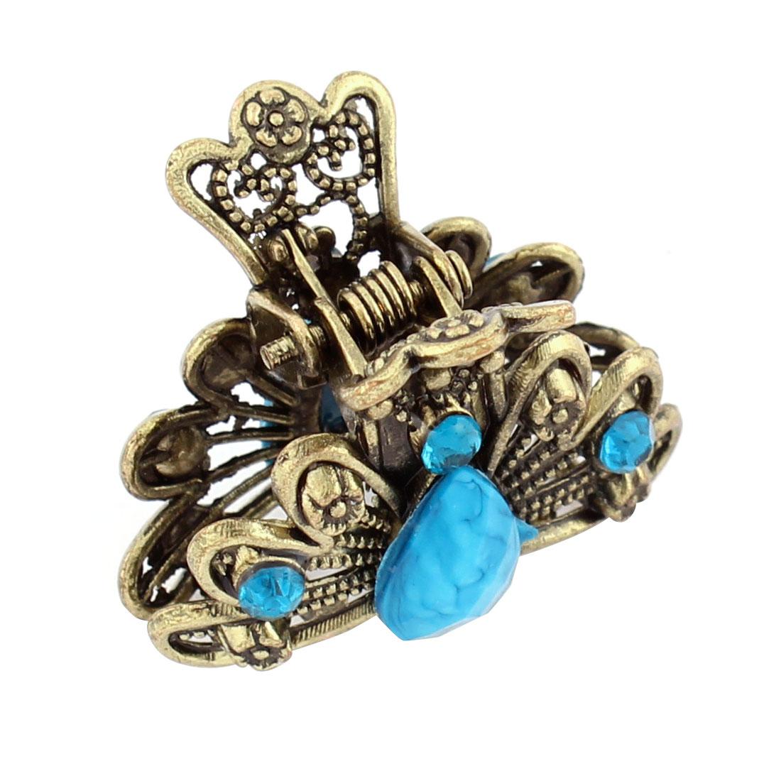 Metal Rhinestone Decor Lady Hair Claw Hairpin Clip Barrette Blue