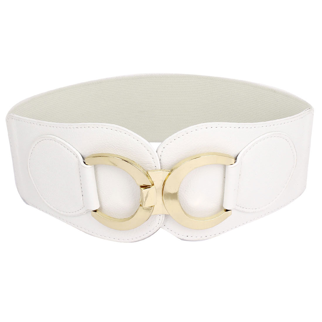 Lady Interlocking Buckle Stretch Waist Belt Waistband Straps White