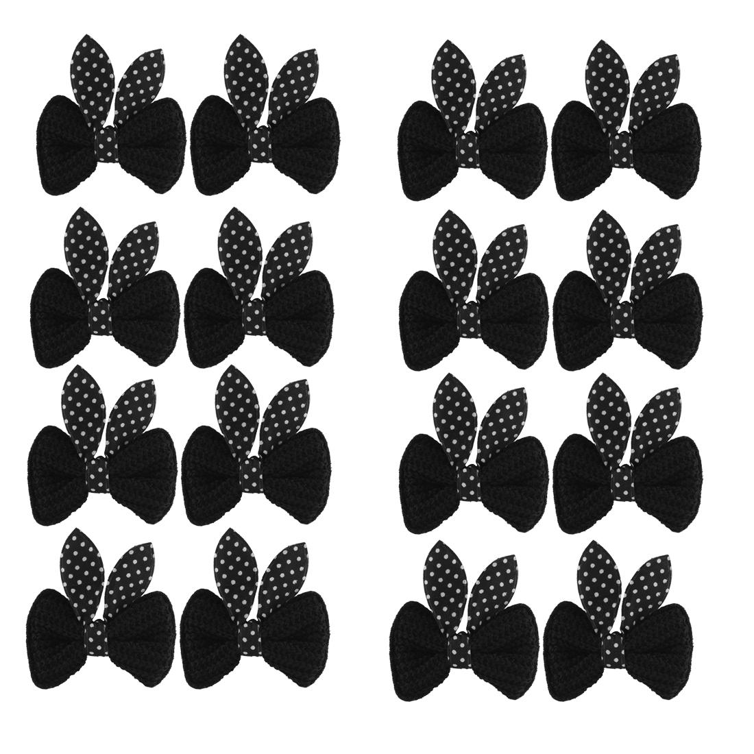 Girls Rabbit Ear Design Bow Alligator Hair Clip Barrette 8 Pairs Black