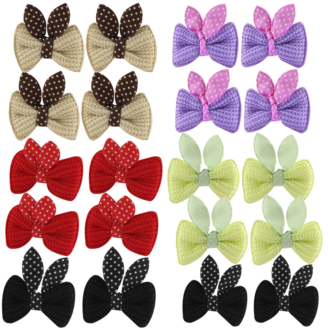 10 Pairs Girls Bowknot Decor Alligator Clip Hair Pin Barrette 5 Colors