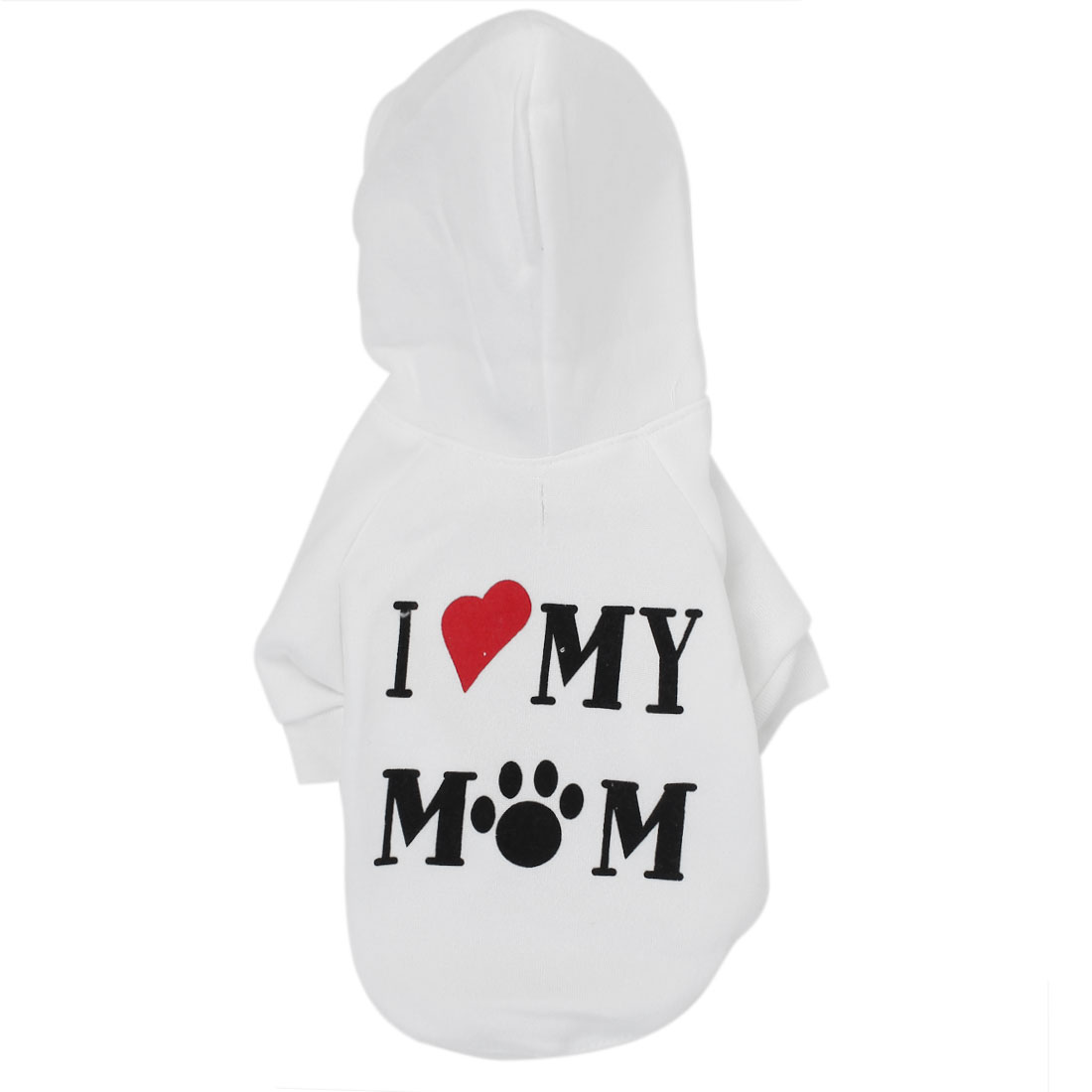 I LOVE MOM Pet Cat Puppy Clothes Hoodie Warm Coat Apparel Costume White Size L
