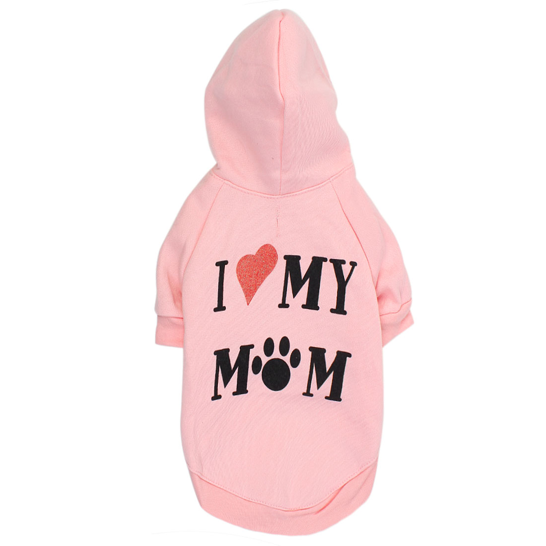 I LOVE MOM Pet Dog Puppy Clothes Hoodie Warm Coat Apparel Costume Pink Size L
