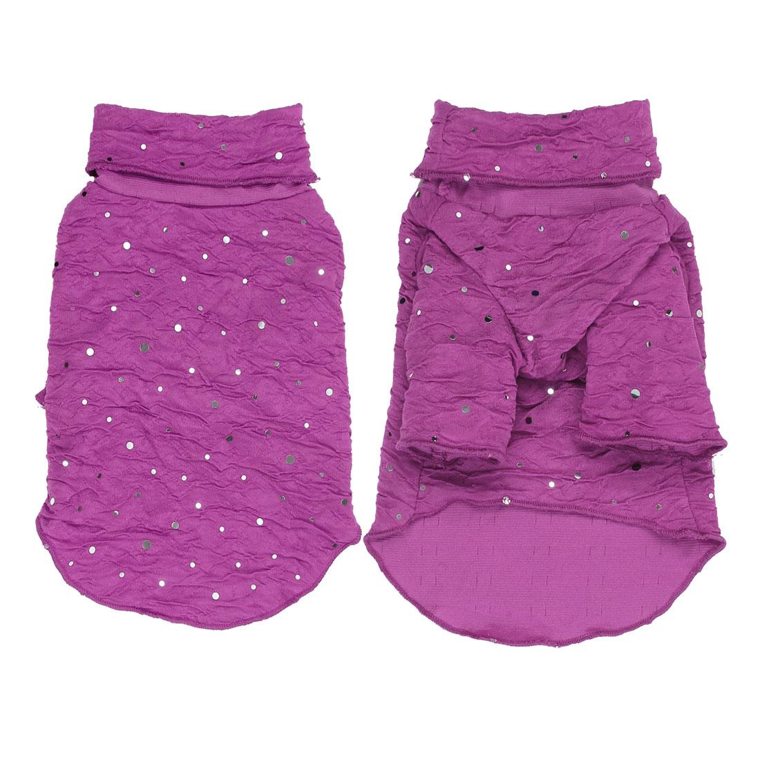 Pet Dog Puppy Turtleneck Sequins Clothes Clothing Apparel Costume Purple Size XS
