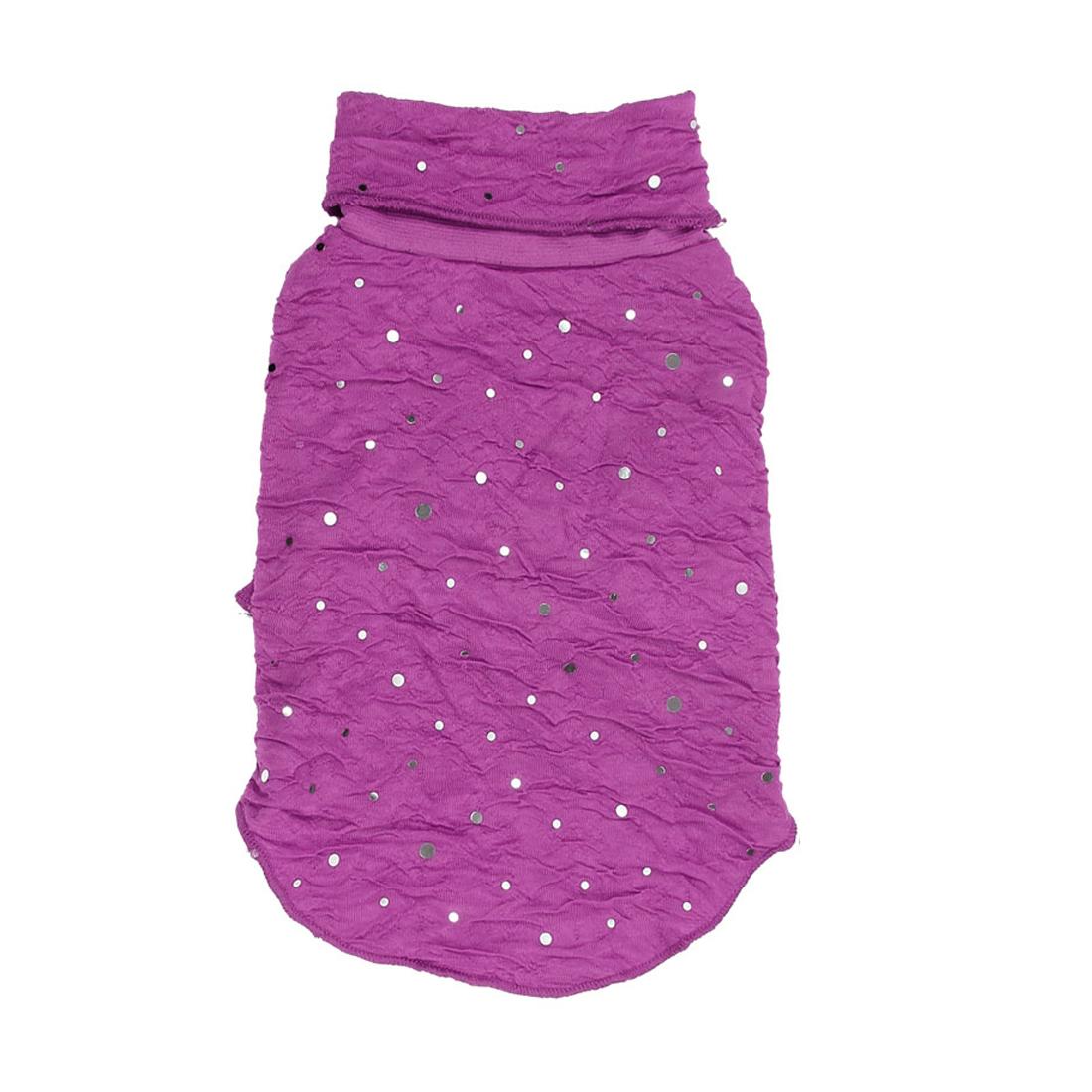 Pet Dog Puppy Turtleneck Sequins Clothes Clothing Apparel Costume Purple Size S