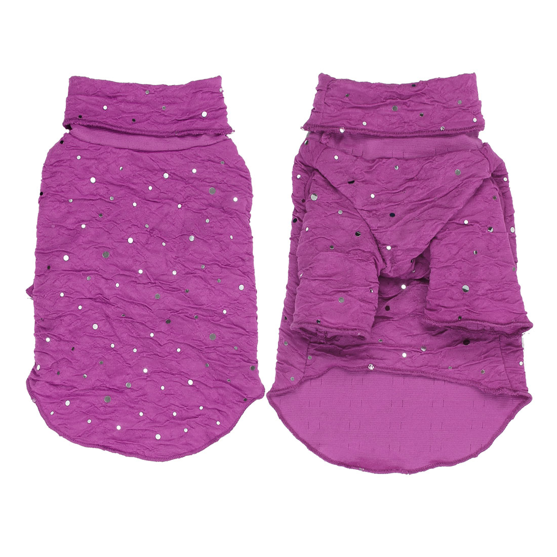 Pet Dog Puppy Turtleneck Sequins Clothes Clothing Apparel Costume Purple Size L