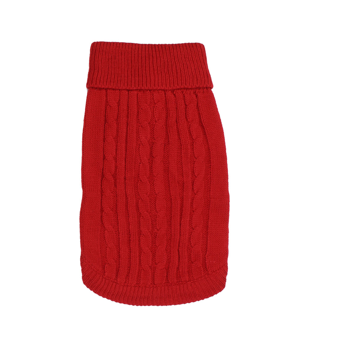 Pet Dog Ribbed Cuff Twisted Warm Turtleneck Apparel Knitwear Sweater Red Size S