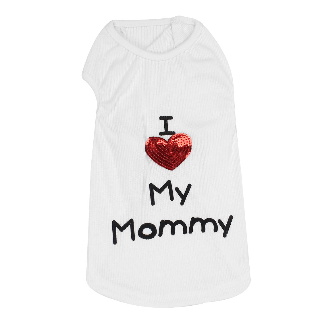 I Love My Mommy Pet Puppy Summer Tank Top T-shirt Vest Clothes Apparel White Size L