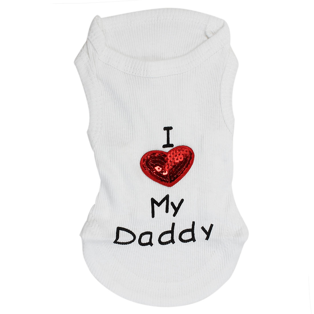 I Love My Daddy Pet Puppy Summer Tank Top T-shirt Vest Clothes Apparel White Size XS