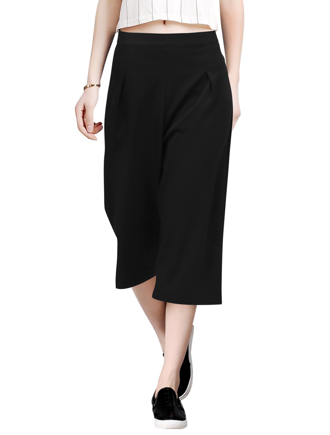 Ladies Concealed Zip Mid Rise Wide Legged Trousers Black S