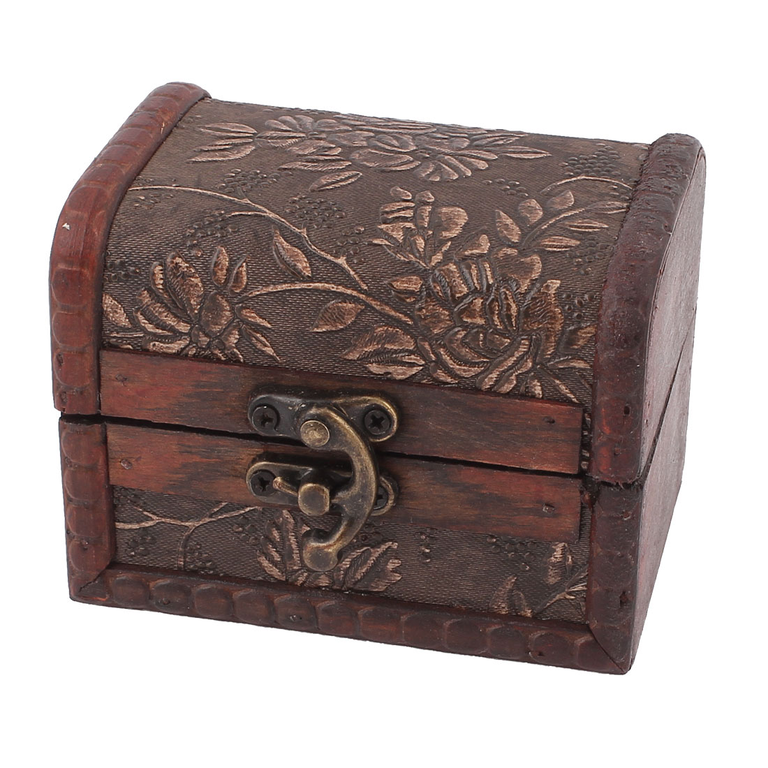 Retro Vintage Style Floral Pattern Burgundy Wood Trinket Storage Jewelry Gift Box Fit Beads Necklace Ring Holder Case