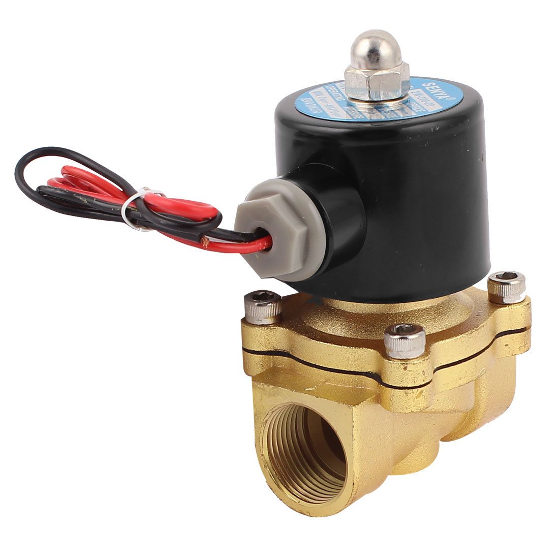 DC 12V 24mm 3/4BSP Female Threaded 2 Way 0-10kg/cm2 Air Gas Electromagnetic Solenoid Valve
