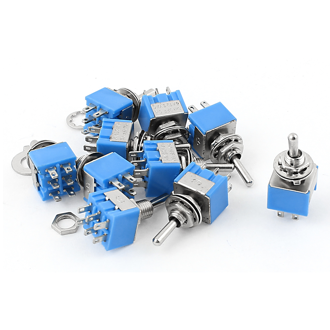 10Pcs AC 125V 6A 6Pin 3 Positions ON-OFF-ON 6mm Thread DPDT Latching Mini Toggle Switch Blue