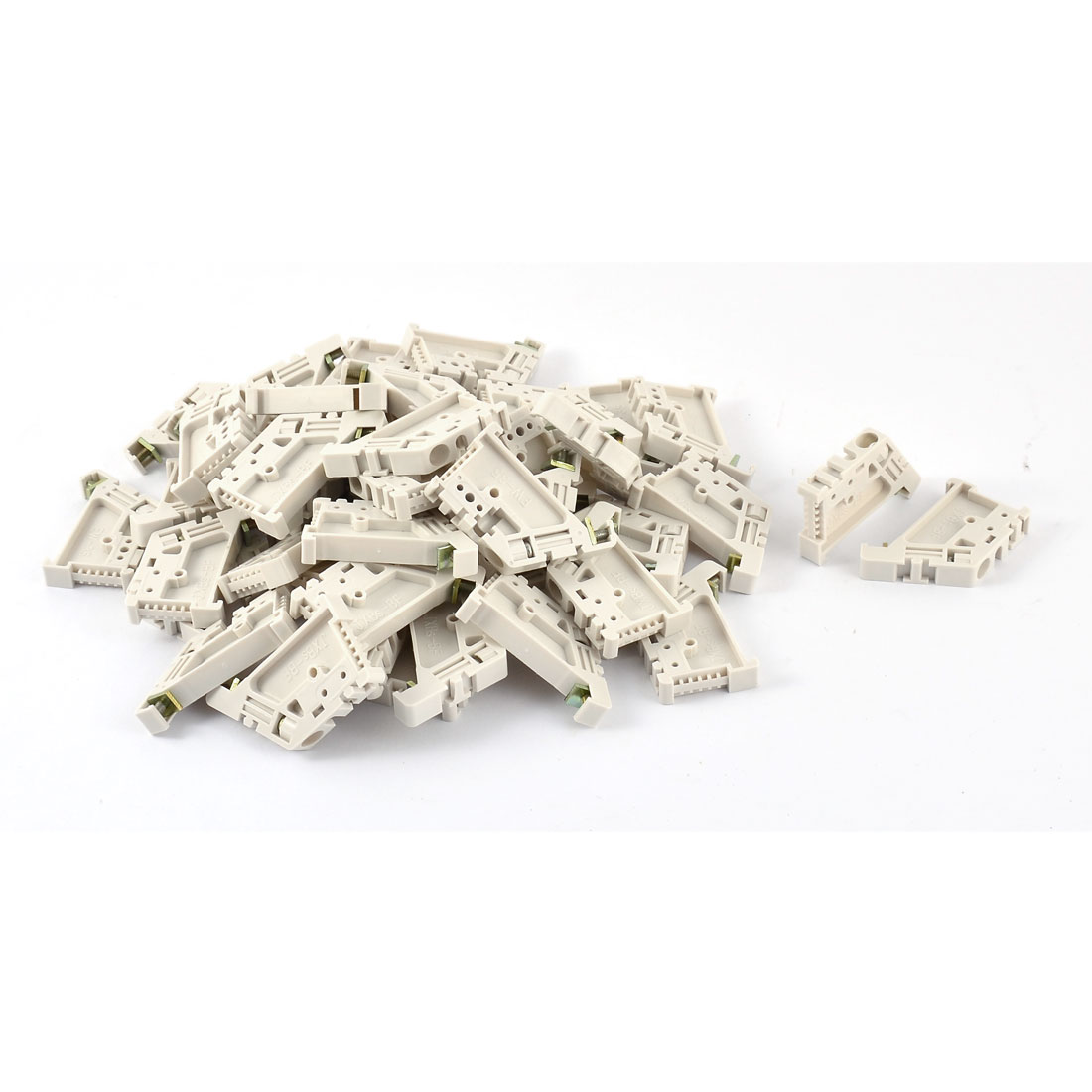 50 Pcs White Plastic 35mm DIN Rail Screw Fixed Terminal Block End Stopper Mounting Clips Clamps Connector