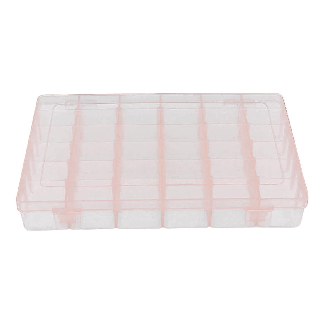 Electronic Components Tool Rectangle Plastic Detachable 36 Slots Storage Case Box Organizer Holder Clear Pink 27.5cmx17.5cmx4.5cm