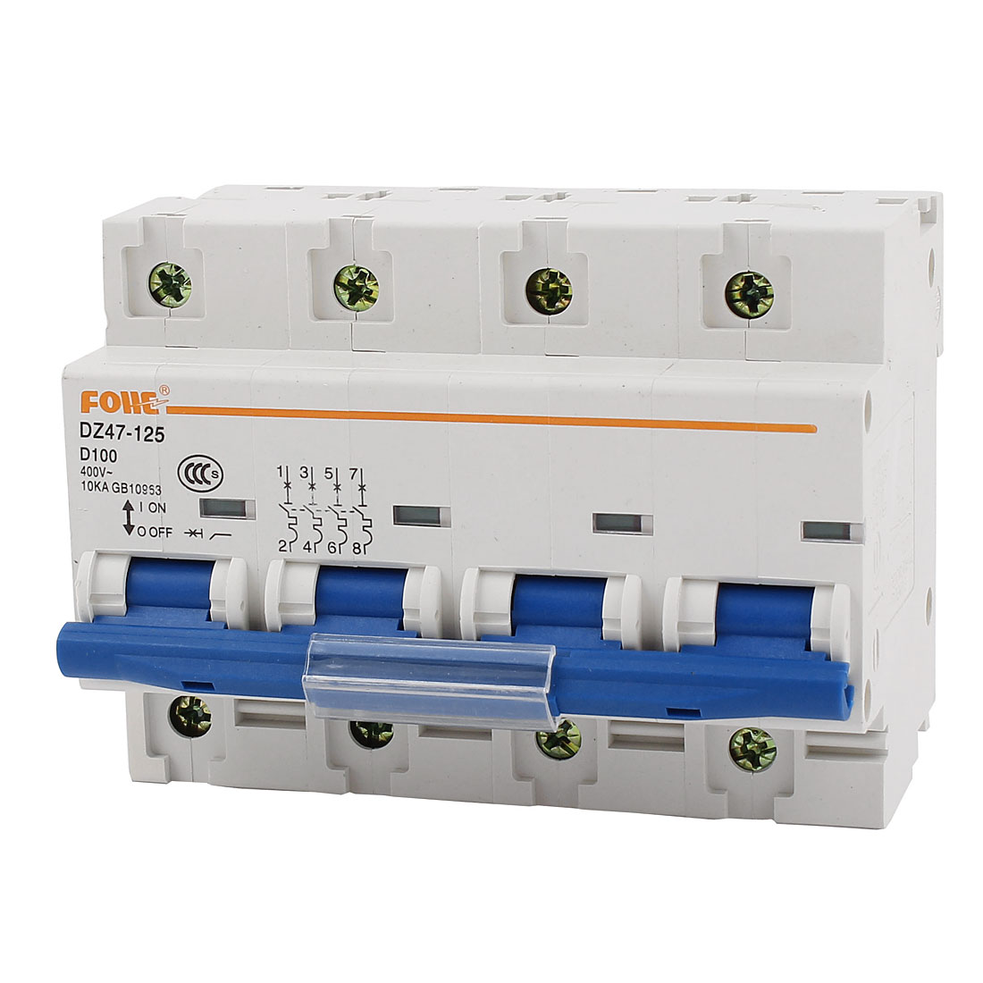 DZ47-125 AC 400V 100A 10KA 35mm DIN Rail Mount 4Pole Overload Protection Miniature Circuit Breaker