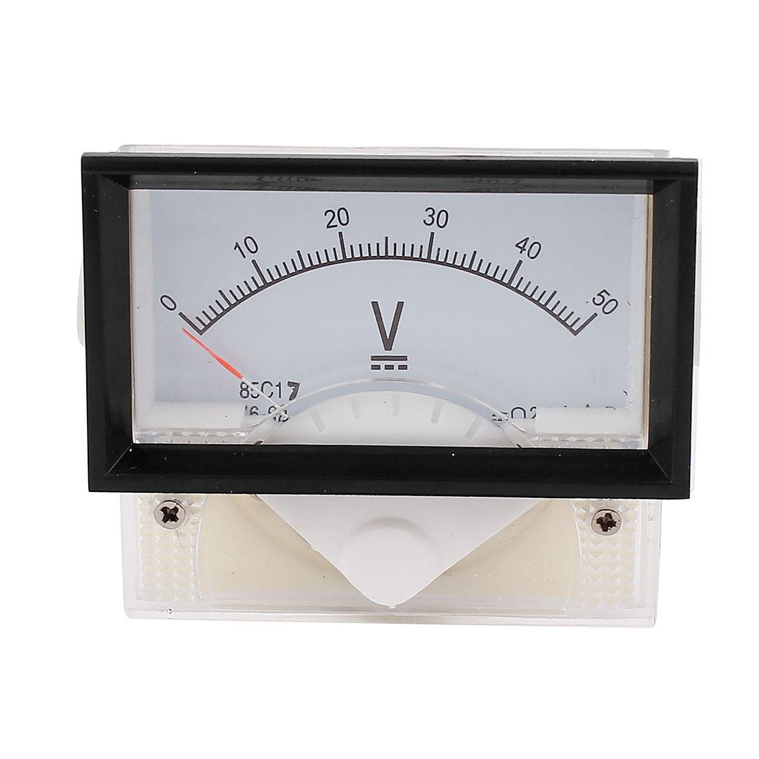 85C17 DC 0-50V Class 2.5 Rectangular Analog Panel Voltage Voltmeter Gauge Volt Meter