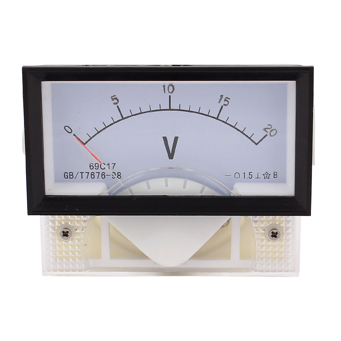 DC 0-20V Class 1.5 Clear Plastic Rectangle Panel Analog Gauge Voltmeter Voltage Meter
