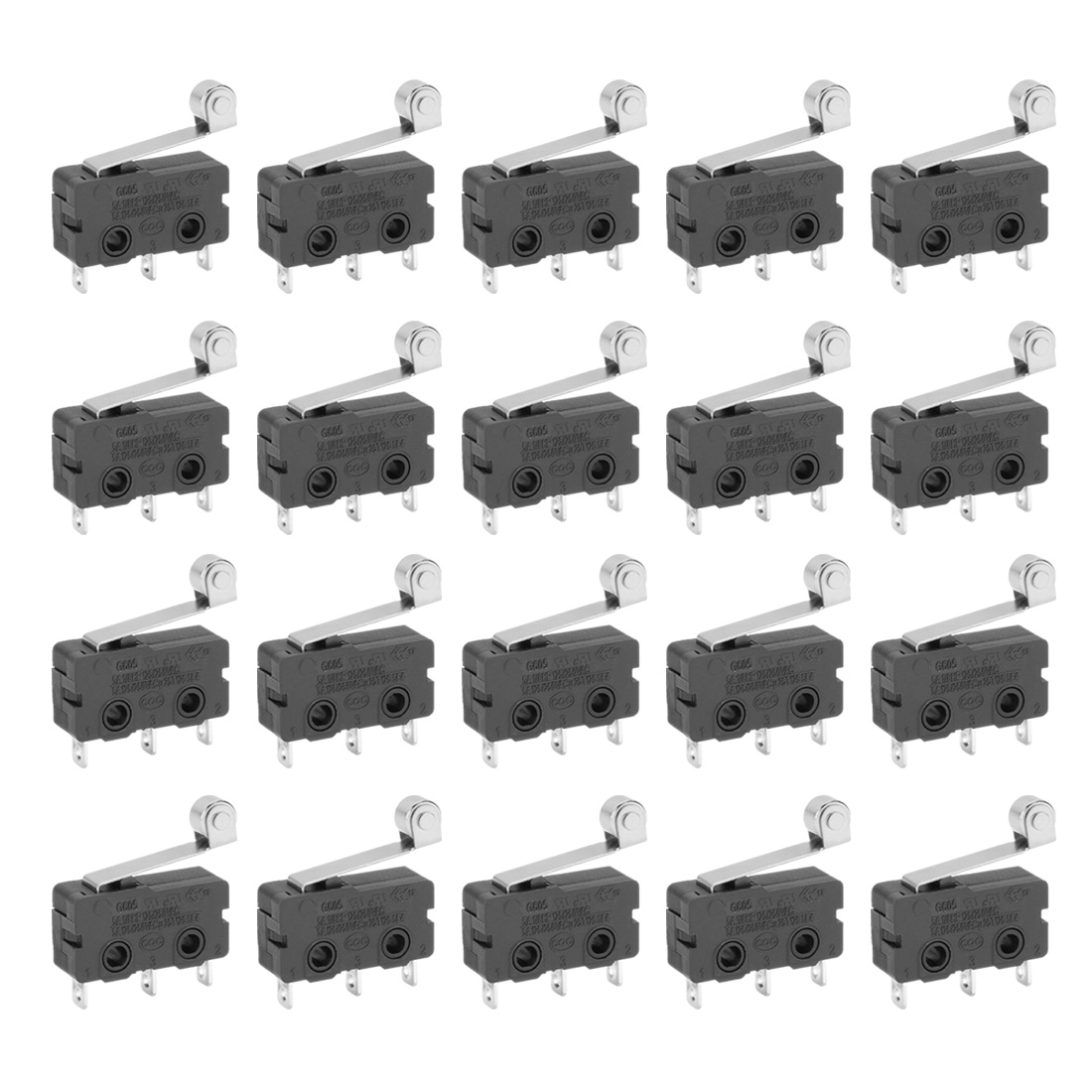 20PCS G605-150S06A AC 125/250V 5A Roller Lever Arm SPDT Momentary Miniature Micro Limit Switch Microswitch