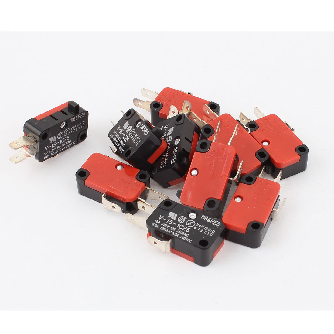 10Pcs AC250V/125V 15A DC125/250V 0.6A 0.3A Snap Action Push Button SPDT Momentary Micro Limit Switch