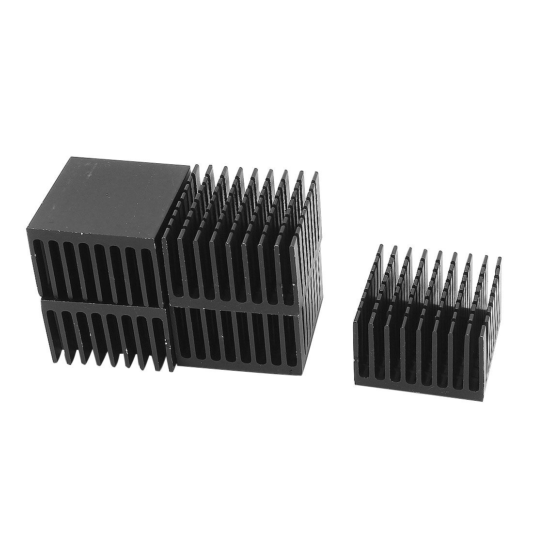5 Pcs 37x37x24mm Black Aluminium Slotted Heatsink Heat Sink Diffuse Cooling Fin for LED