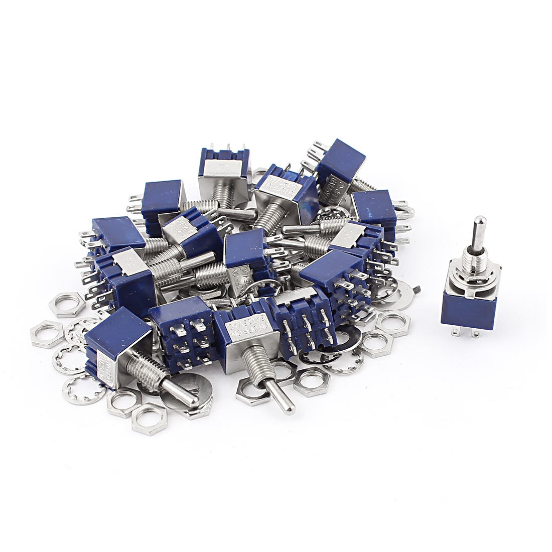 20Pcs AC 125V 6A 6Pin 3 Positions ON-OFF-ON 6mm Thread DPDT Latching Mini Toggle Switch Blue