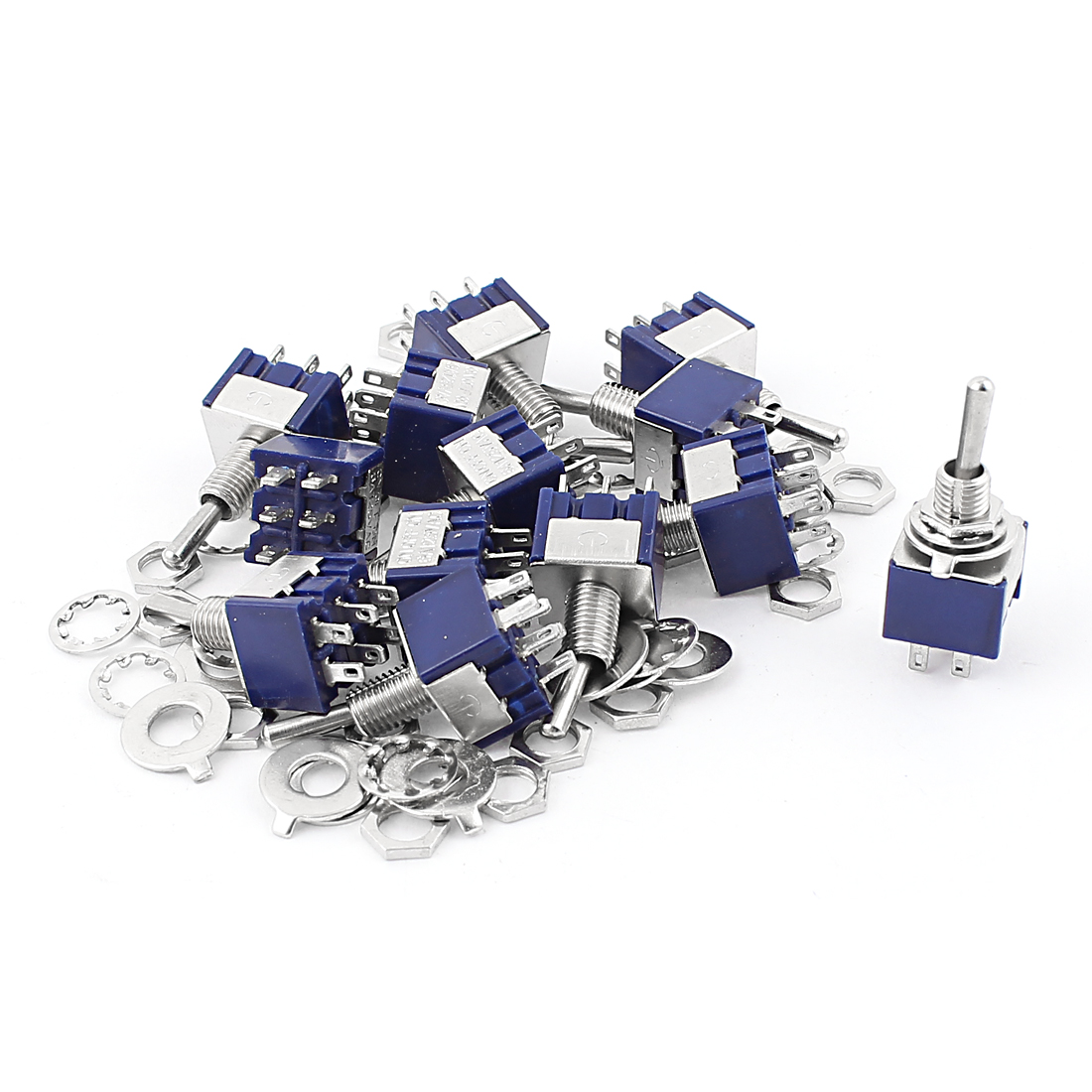 10Pcs AC 125V 6A 6 Pin Terminals ON-OFF-ON 6mm Thread Panel Mount DPDT Self-Locking Mini Toggle Switch Blue