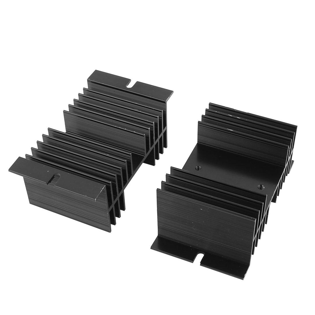 2pcs 10mmx5mmx7mm Black Aluminium Heat Dissipation Heatsink Cooling Fin Cooler Sink for SSR Solid State Relay