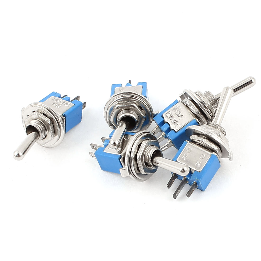5Pcs AC 125V 3A 2 Position On-On 5mm Thread Panel Mount SPDT Latching Mini Toggle Switch Blue