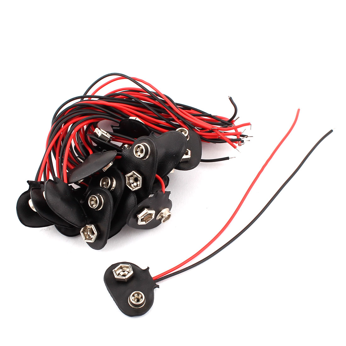 20Pcs Faux Leather Housing Wire Leaded I Type 9V Battery Clip Connectors Cell Holder Buckle for RC Model