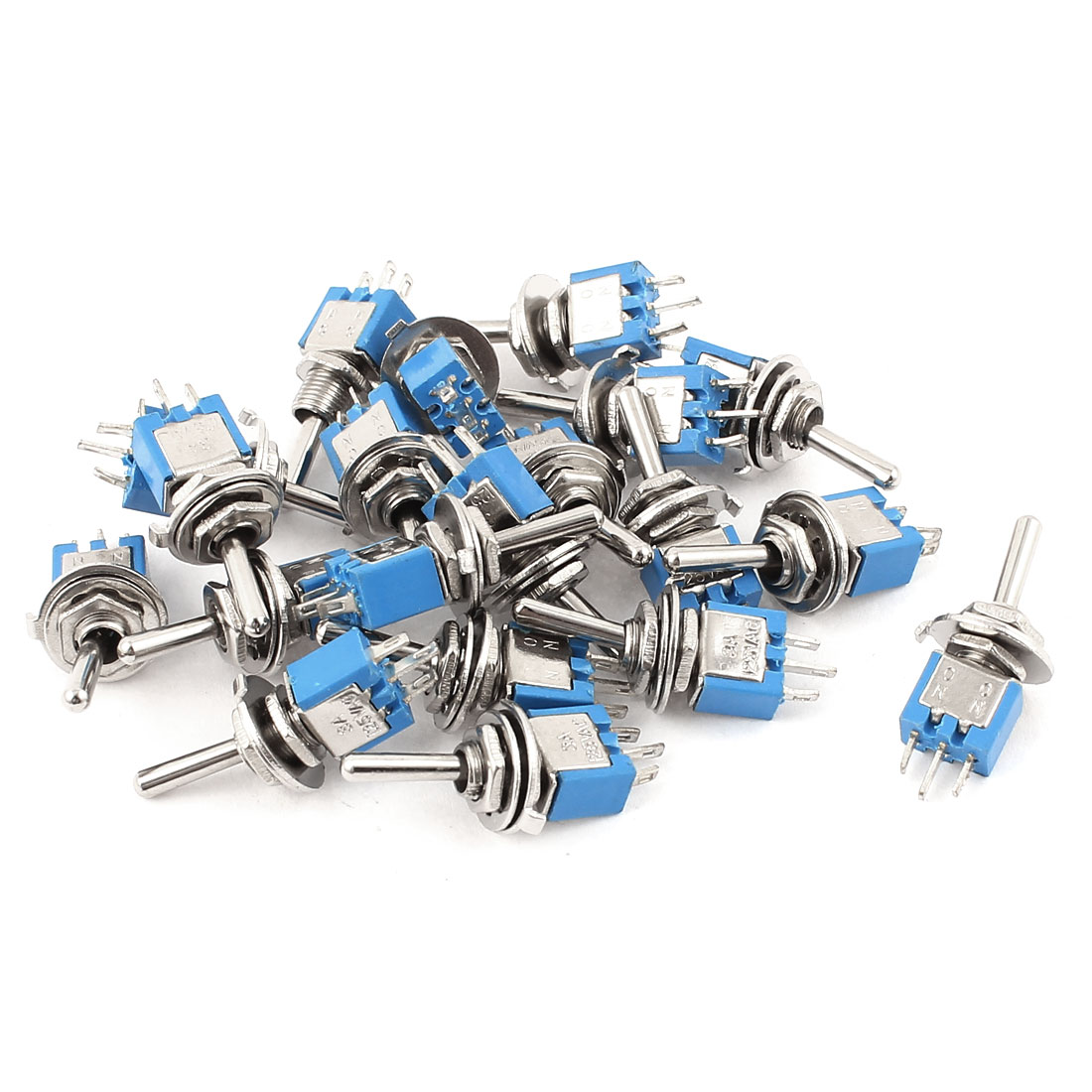20Pcs AC 125V 3A Terminals 2 Position On-On 5mm Thread SPDT Latching Mini Toggle Switch Blue